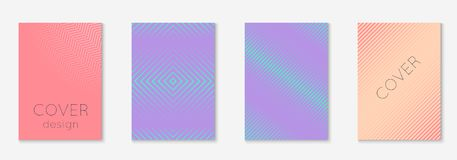 Minimalistic cover template set with gradients. Gradient cover template set. Minimal trendy layout with halftone. Futuristic gradient cover template for banner Stock Photography