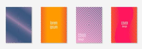 Minimalistic cover template set with gradients. Gradient cover template set. Minimal trendy layout with halftone. Futuristic gradient cover template for banner stock illustration