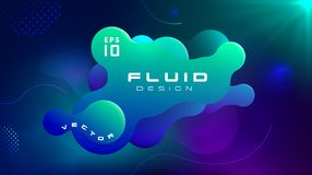Gradient fluid blue green color abstract background. Liquid shapes futuristic concept. Creative motion dynamic fluid vector illustration