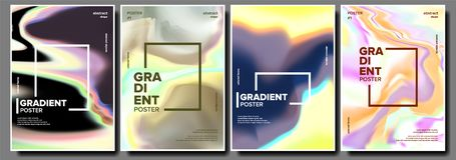 Gradient Fluid Poster Set Vector. Aurora Light. Chemical Hologram. Blurred Mixture. Decoration Art. Liquid Design stock illustration