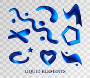 Set of liquid spots, explosion, splash of blue primitive shapes and drops is realistic drawing. liquid 3D splash isolated on. The gradient is formed in royalty free illustration