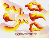A set of liquid stains, the explosion, the surge of gold drops realistic, figure. liquid 3d splash isolated on light background in. The gradient forms in rainbow vector illustration