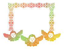 Gradient frame with angel in vintage style. Custom element for d Royalty Free Stock Image