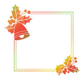 Gradient frame with Christmas bells and holly berries. Copy spac Stock Photography