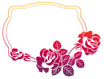 Gradient frame with roses. Raster clip art. Stock Photography