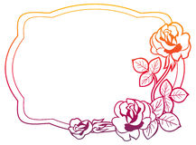 Gradient frame with roses. Raster clip art. Stock Photos