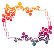 Gradient frame with roses. Raster clip art. Stock Image