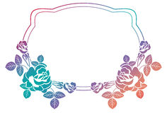 Gradient frame with roses. Raster clip art. Stock Photo