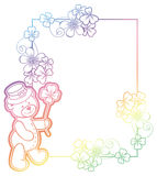 Gradient frame with shamrock and cute teddy bear. Raster clip art. Royalty Free Stock Image