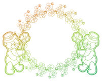 Gradient frame with shamrock and cute teddy bear. Raster clip art. Stock Image