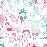 Gradient Funny Characters Seamless Pattern. Funny Characters Seamless Pattern for textile design, bakcgrounds etc Royalty Free Stock Photos