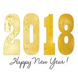 Gradient gold 2018 happy new year. With fireworks Stock Photos