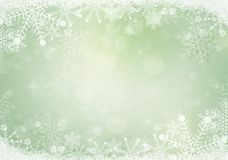 Gradient green winter snowflake border with the snow Royalty Free Stock Image