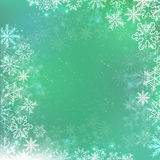 Gradient green winter square banner background with snowflake Royalty Free Stock Photography
