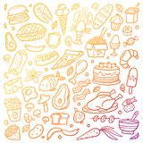 Gradient hand-drawn food poster. Colorful illustration with different dishes. vector illustration