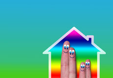 House with very cute family fingers inside Royalty Free Stock Photos