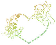Gradient label with  roses and teddy bear looks like a Cupid. Raster clip art. Stock Images