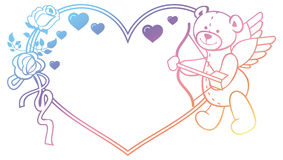 Gradient label with  roses and teddy bear looks like a Cupid. Raster clip art. Royalty Free Stock Images