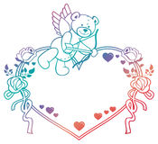 Gradient label with  roses and teddy bear looks like a Cupid. Raster clip art. Stock Photography