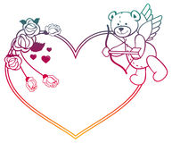 Gradient label with  roses and teddy bear looks like a Cupid. Raster clip art. Royalty Free Stock Photography