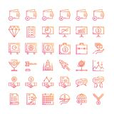 36  Business and financial icon set. Gradient line icons style. business element and conceptual illustration Stock Image
