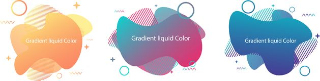 Gradient liquid shapes. 3 Set of abstract modern graphic elements. Dynamical colored forms and line. Gradient abstract banners with flowing liquid shapes royalty free illustration