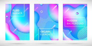 Gradient neon liquid banners set pink blue stock illustration