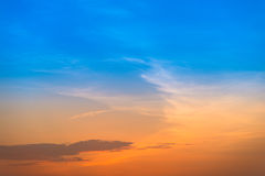 Gradient orange and blue purple sunset sky Royalty Free Stock Image