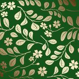 Gradient pattern with gold branches - green vector decorative background stock illustration