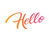 Gradient pink to orange isolated hand writing word HELLO. The Gradient pink to orange isolated hand writing word HELLO Royalty Free Stock Photo