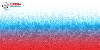 Gradient pixel digital red blue horizontal background. Russia 2018 flag colors. Soccer ball icon. Vector illustration.  Stock Photography