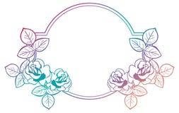 Gradient rama z różami Raster klamerki sztuka obraz stock