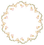 Gradient round frame with abstract flowers silhouettes. Royalty Free Stock Image