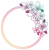 Gradient round frame with abstract flowers silhouettes. Stock Images