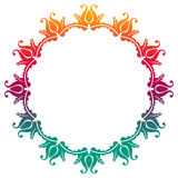 Gradient round frame with flowers Royalty Free Stock Photos