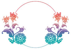 Gradient round frame with flowers. Copy space. Design element for your artwork. Raster clip art Royalty Free Stock Photo