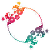 Gradient round frame with flowers. Copy space. Design element for your artwork. Raster clip art Royalty Free Stock Photography