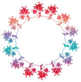 Gradient round frame with flowers. Copy space. Design element for your artwork. Raster clip art Royalty Free Stock Images