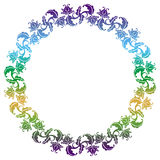 Gradient round frame with flowers Stock Photo