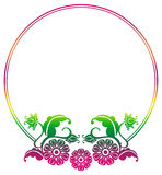 Gradient round frame with flowers. Copy space. Design element for your artwork. Raster clip art Stock Photo