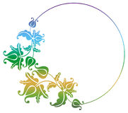 Gradient round frame with flowers Stock Images