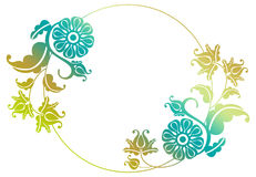 Gradient round frame with flowers Royalty Free Stock Photography