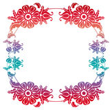 Gradient round frame with flowers. Copy space. Design element for your artwork. Raster clip art Royalty Free Stock Photos