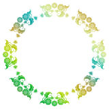 Gradient round frame with flowers Stock Image