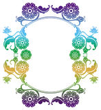 Gradient round frame with flowers. Copy space. Design element for your artwork. Raster clip art Stock Images