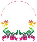 Gradient round frame with flowers. Copy space. Design element for your artwork. Raster clip art Stock Photos