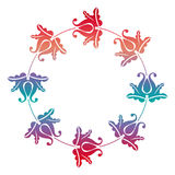 Gradient round frame with flowers. Copy space. Design element for your artwork. Raster clip art Royalty Free Stock Image