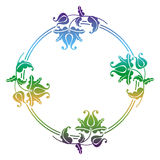 Gradient round frame with flowers Royalty Free Stock Photo