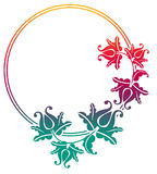 Gradient round frame with flowers. Copy space. Design element for your artwork. Raster clip art Stock Image