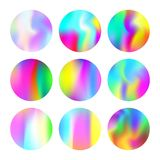 Holographic abstract backgrounds set. Gradient round set with holographic mesh. Futuristic abstract gradient round set backdrops. 90s, 80s retro style Stock Image